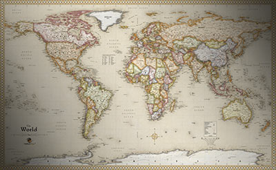 World Antique Style Map   Current Map in Old Vintage Map Style zoom in      World Antique Style Map