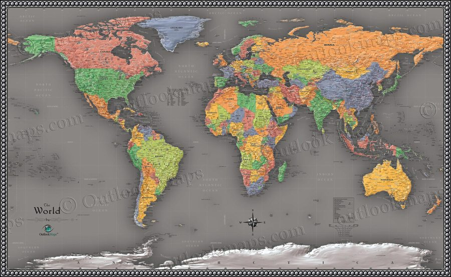 Cool Color World Map   Modern Design World Map Cool Color Political Map of the World