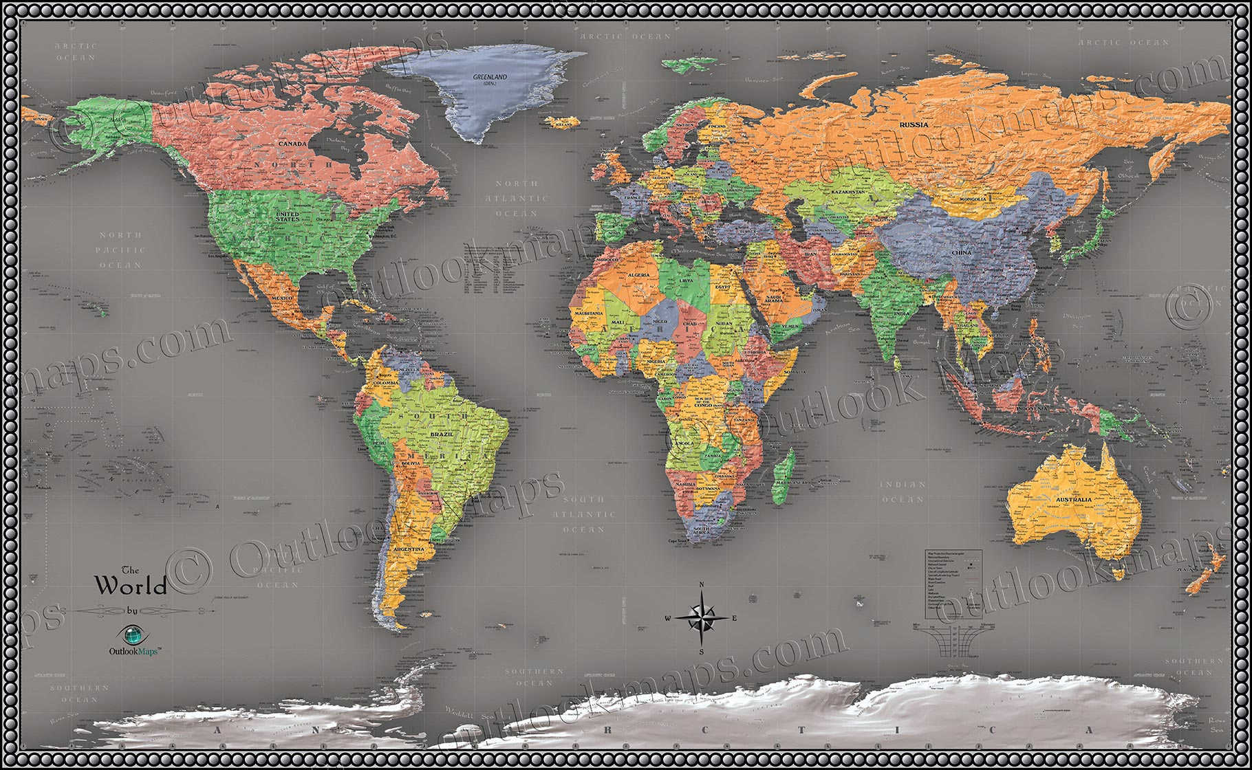 Cool Color World Map   Modern Design World Map Cool Colors World Contemporary Wall Map