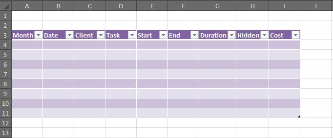 How to create a working timesheet in Excel   Part 2   OutofhoursAdmin excel spreadsheet sample