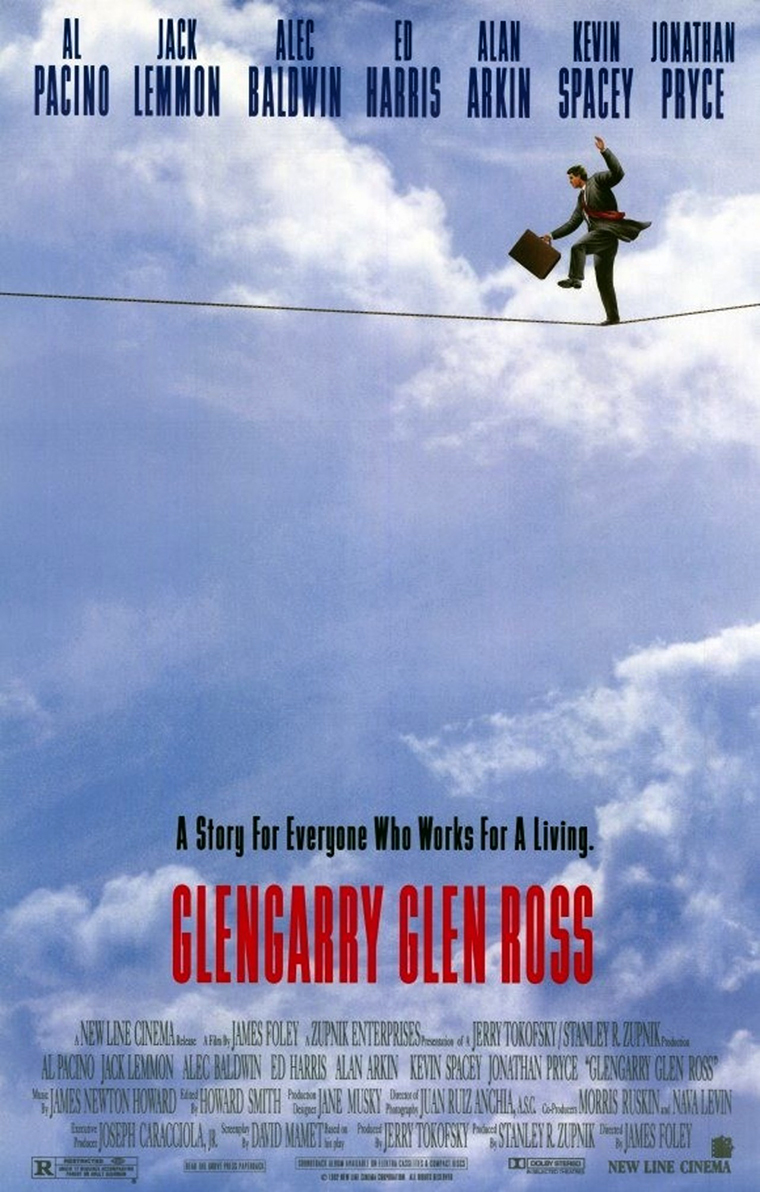 The movie poster for Glengarry Glen Ross