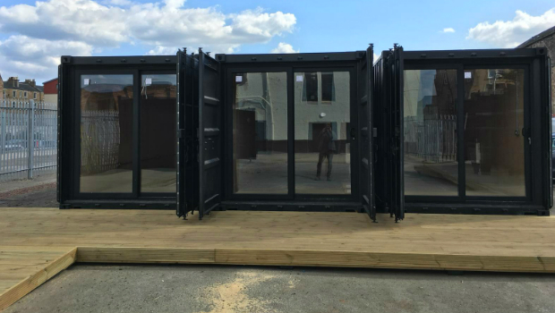 Three containers in the space