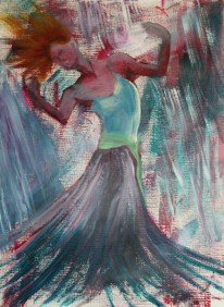 Dancing with Red Acrylic on canvas paper 30 cm x 40 cm