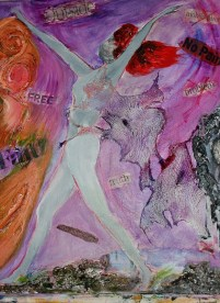 Freedom 61 cm x 51 cm mixed media on stretched canvas