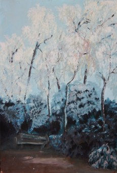 A Frosty Morning. oil on board 27 cm x 40 cm SOLD