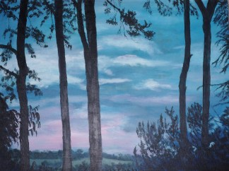 Sunset through the pines Acrylic on block canvas 61 cm x 46 cm x 4 cm (ready to hang) Price: £160.00