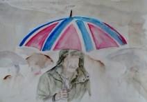 Man under brollie. watercolour
