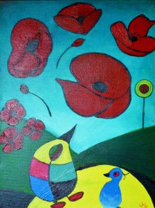 POPPIES in the style of Jean Miro Acrylic on block canvas. This was painted for my 3rd granddaughter, Poppy Miro after she was born.
