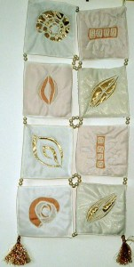 Diatoms Reverse applique with gold fabric & white silk.