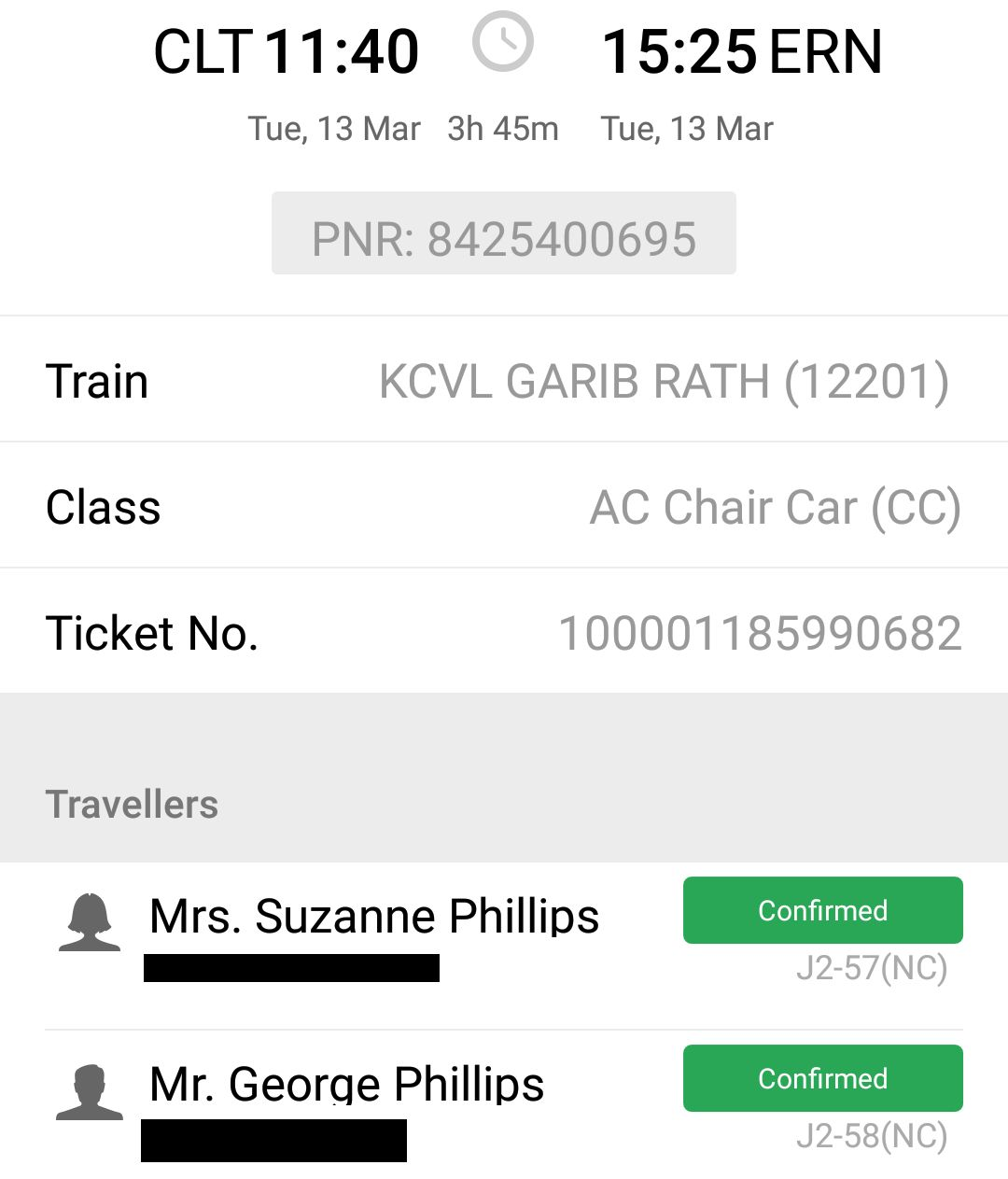 Indian Railways Train Ticket