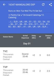 Indian Railway App Showing Platform