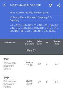 Indian Railway App Showing Platform