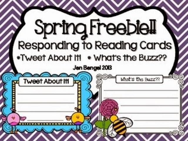 http://www.teacherspayteachers.com/Product/Spring-Freebie-Responding-to-Reading-CardsTweet-About-It-633710