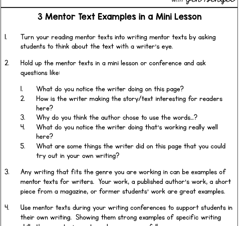 3 Mentor Text Examples in a Mini Lesson