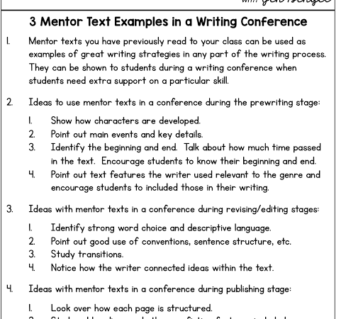 3 Mentor Text Examples in a Writing Conference