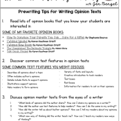 Prewriting Tips for Writing Opinion Texts