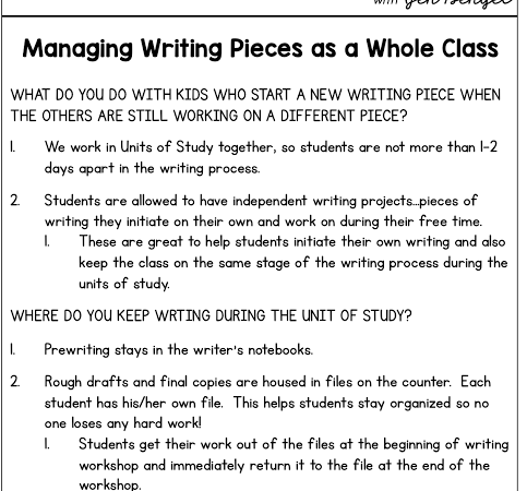 Managing Writing Pieces as a Whole Class