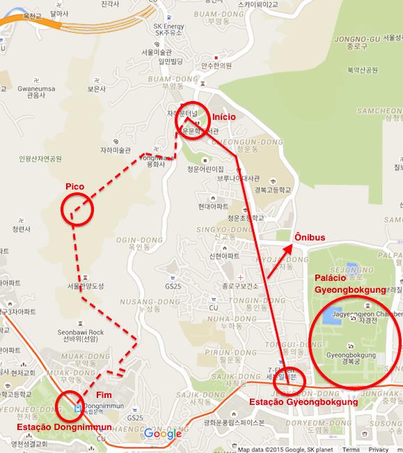 Mapa Montanha Inwangsan