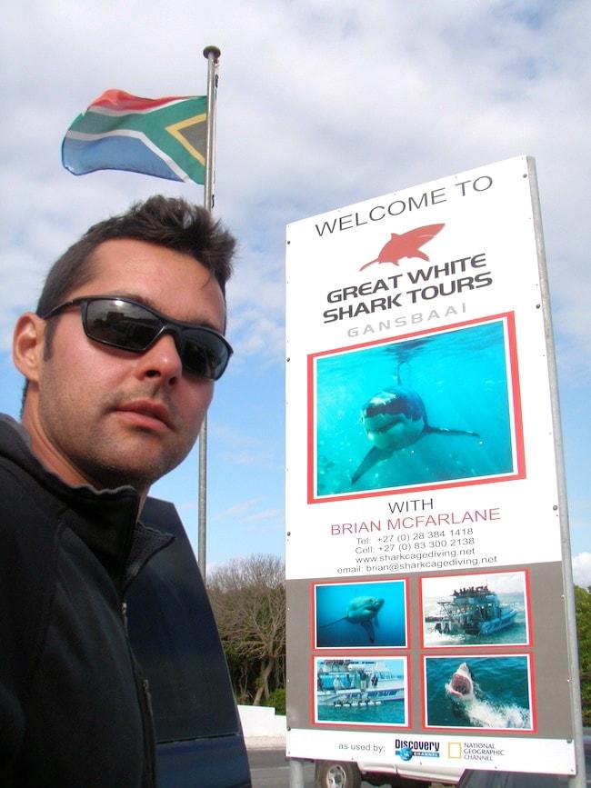 Mergulhando com tubarões brancos na África do Sul