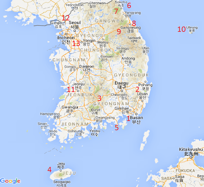 South Korea map tourist destinations