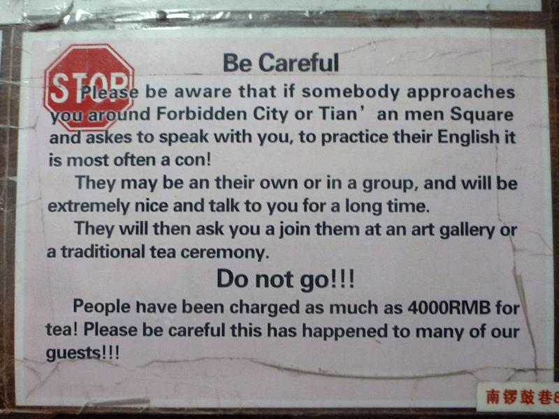 China Beijing tea scam warning