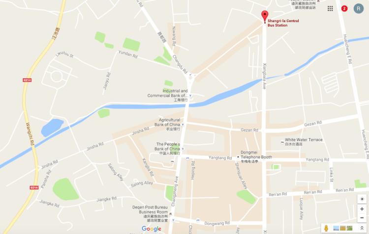 Mapa de Shangri-La com a estação de ônibus marcada