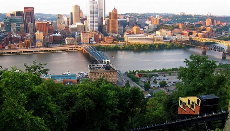 View from the top of the Monongahela Incline cable car Pittsburgh