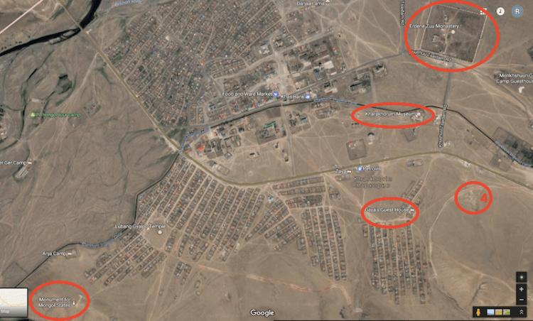 Mapa de Karakoram com pontos turísticos