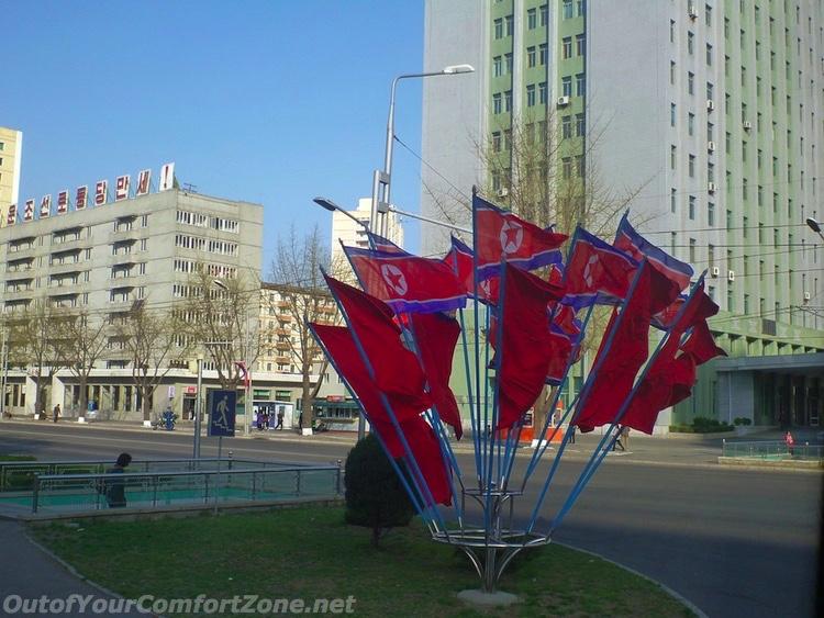 North Korea flags on street corner Pyongyang