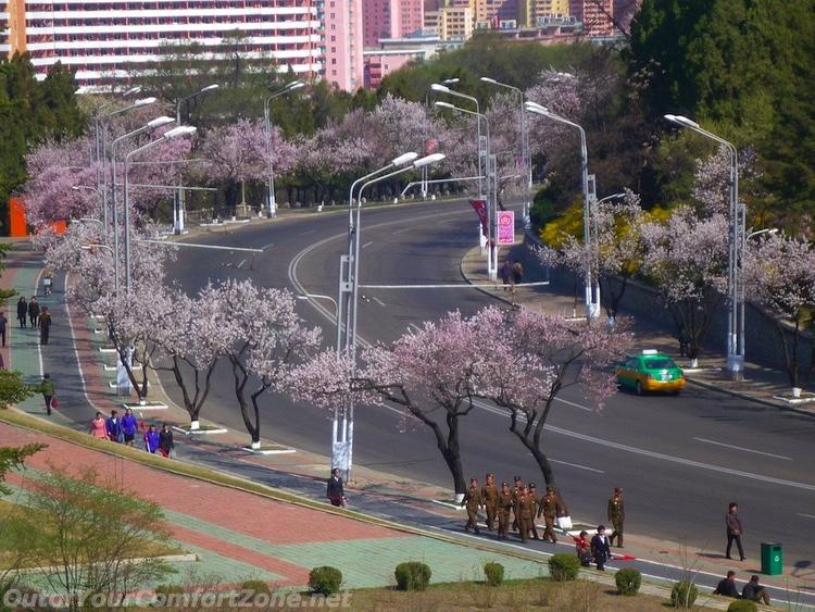 taxi empty street Pyongyang North Korea