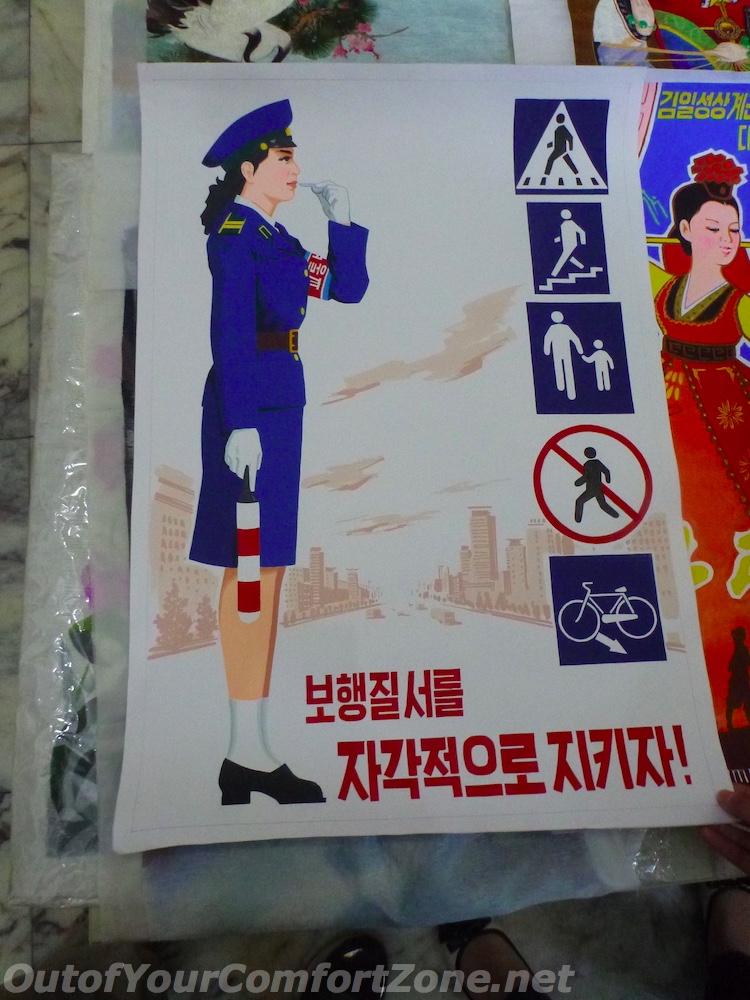 North Korea traffic lady painting