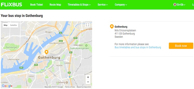 Flixbus pick up location in Gothenburg