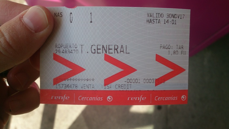 Malaga Airport Train ticket