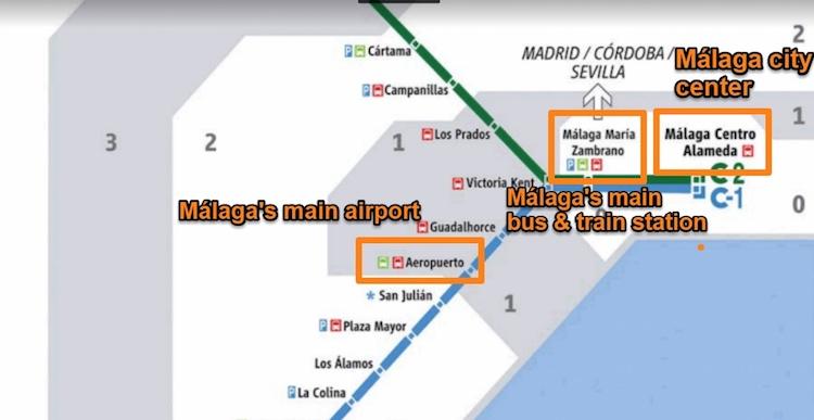 Málaga Train network map