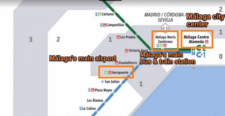 Málaga Train network map