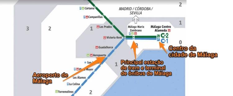 Mapa de rotas de trem de Malaga