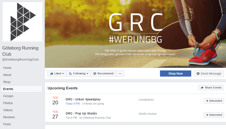 Gothenburg Running Club Facebook page