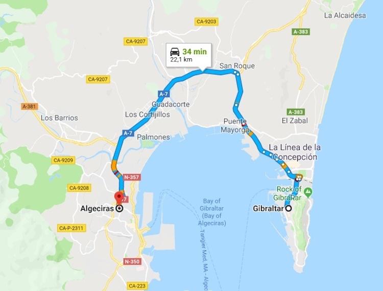 Mapa Gibraltar Algeciras