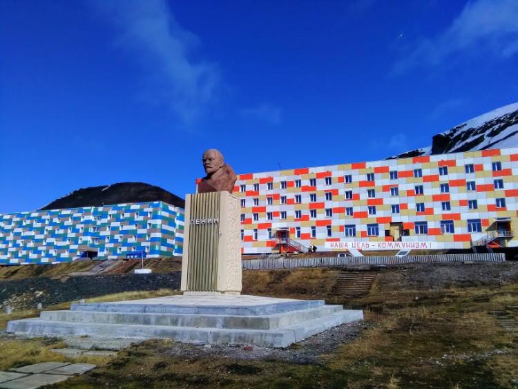 Russian Barentsburg Svalbard Norway Soviet Communist Propaganda Lenin statue