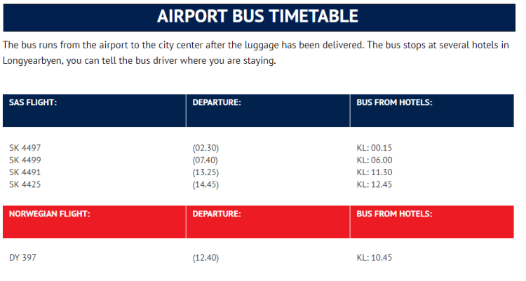 Svalbard Longyearbyen airport bus schedule timetable