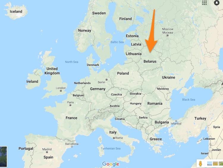 Belarus in Europe map