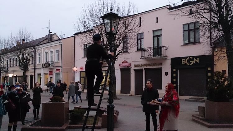 Brest light man streetlamp Belarus 2
