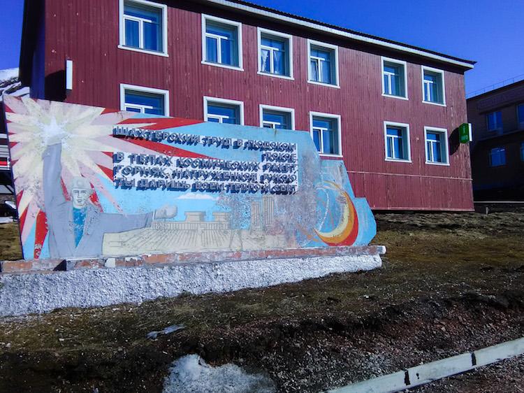 Soviet mural in Barentsburg Svalbard