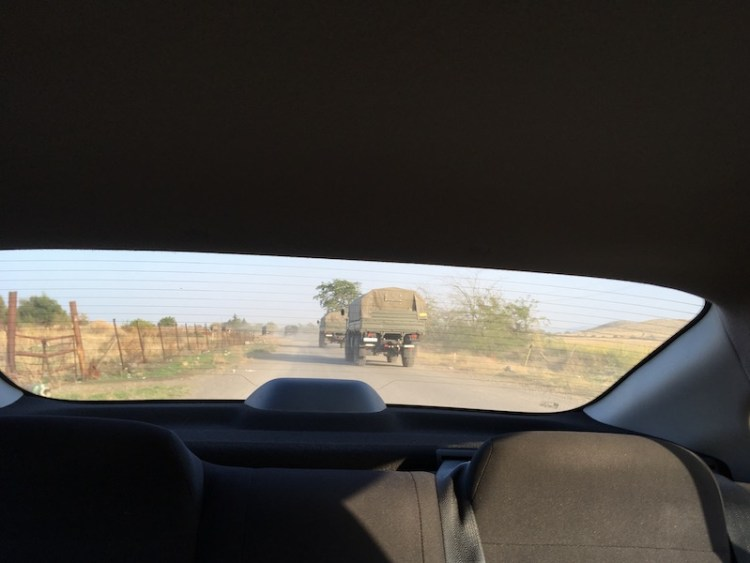 """Military convoy from """"Armenia"""" near the front line"""