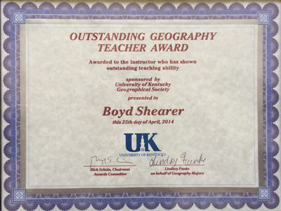 Outstanding Geography Teacher Award, 2014