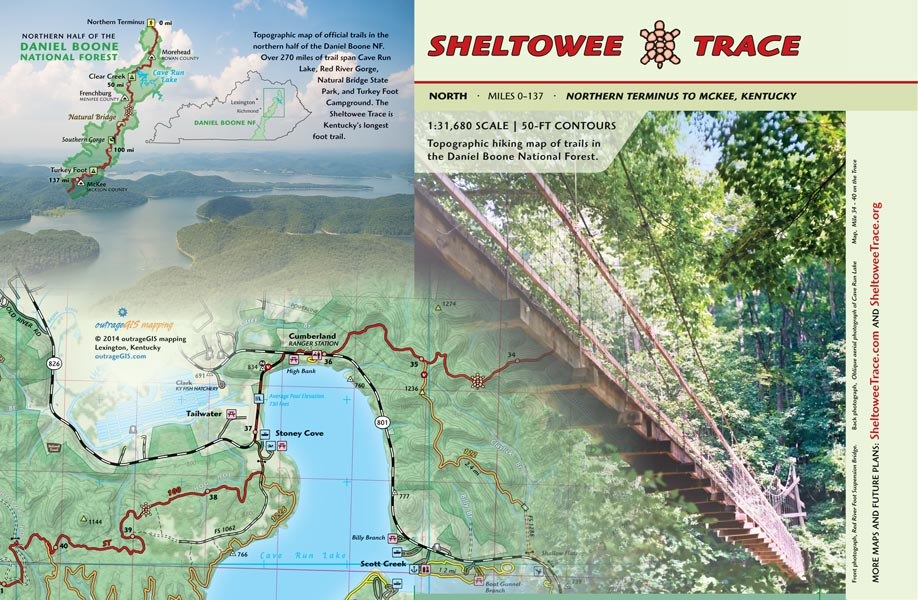 Sheltowee Trace North Trail Map Kentucky hiking