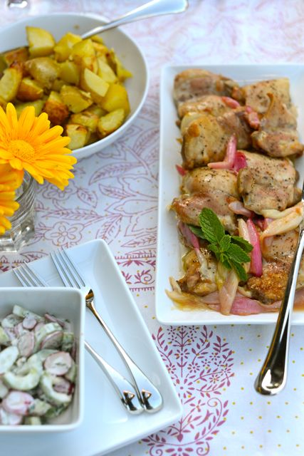 Chicken with Rhubarb Served with Salad and Potatoes