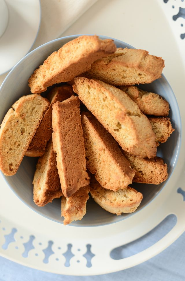 Swedish Almond Rusks in Bowl on Tray