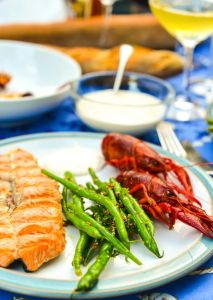 Swedish Crayfish Party Feast with Salmon