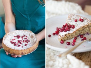 Almond Lingonberry Cake Diptych